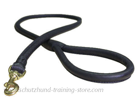 Matching Rolled Leather Dog Lead for schutzhund dogs