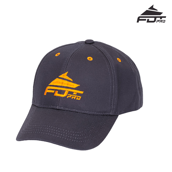 One-size Dark Grey Cap with Orange Logo for Dog Training