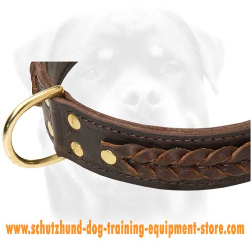 Easily Adjustable Leather Dog Collar