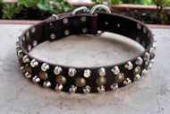 Custom Dog collar - 3 Rows Leather Dog Collar &Studs &Pyramid