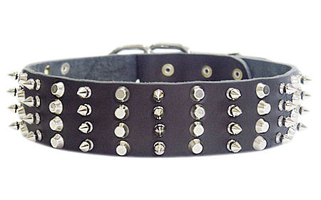 Leather Dog Collar Studs And Spikes 4 Rows