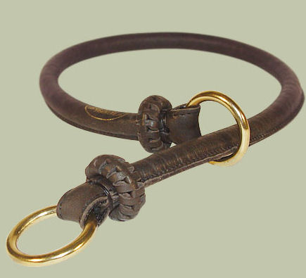 Round Leather Slip Collar-Rolled Choke Collar for police dogs