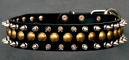 Studded Latigo Leather Dog Collar for schutzhund dogs