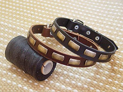 Puppy small dog collar - Leather Special Dog Collar With Plates