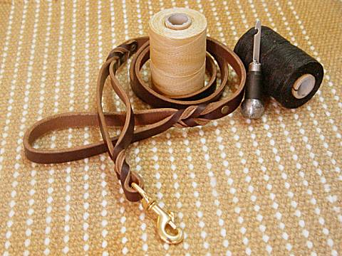 Leather Dog Leash With Extra Handle for dog training or for dog owners
