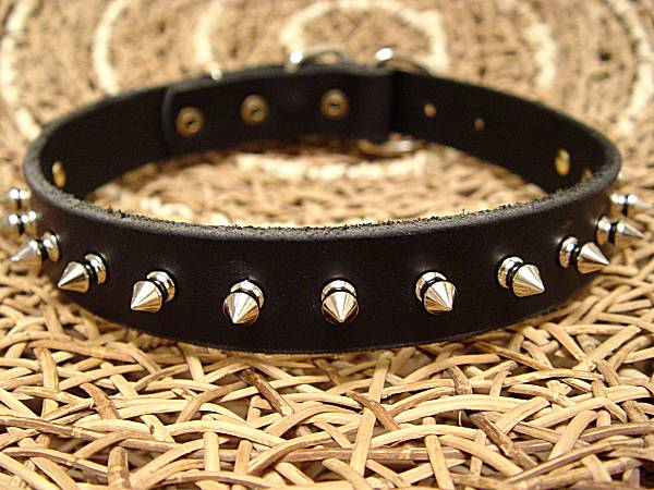 Medium Leather Spiked Dog Collar- 1 Row of spikes collar for dog training or for dog owners