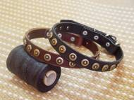Puppy Collar-Gorgeous Wide Leather Dog Collar With Doted Circles
