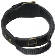 Schutzhund agitation collar 2 ply leather dog collar with handle