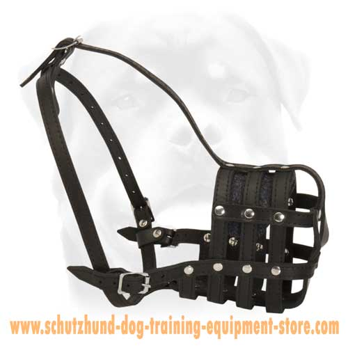 Easy Adjustable Leather Basket Dog Muzzle