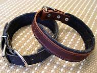 Schutzhund Leather dog collar padded with thick felt