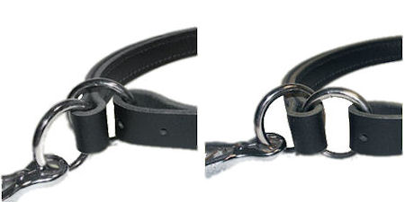 Adjustable Leather Slip Collar with solid NICKEL hardware for training dogs