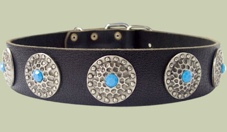 High Quality Dog Collars with blue stones training dogs